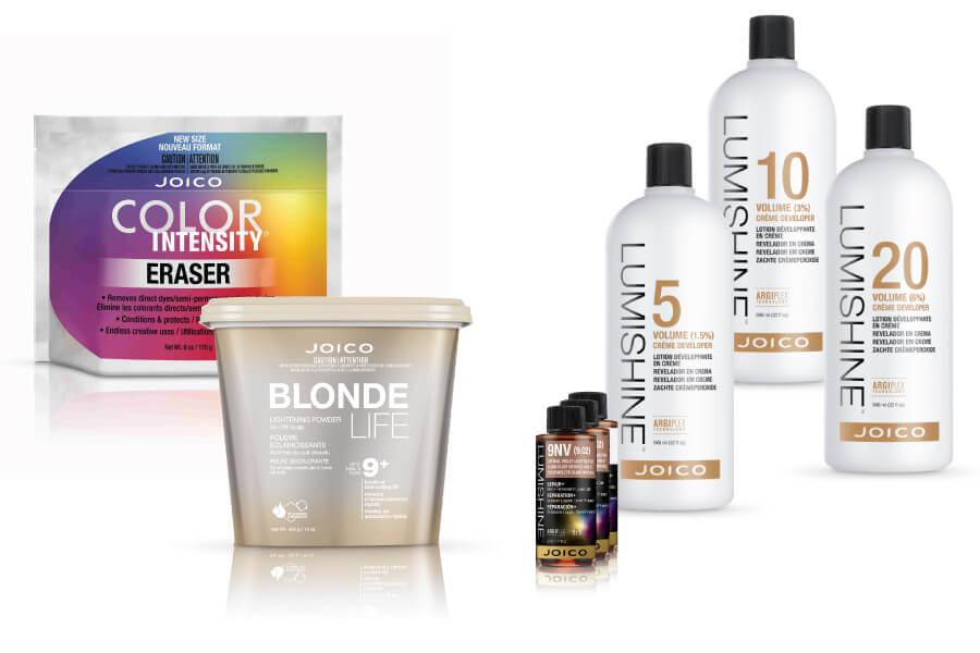 Lumishine developer and color bottles, Blonde Life lightener tub, and Color Intensity Eraser bag