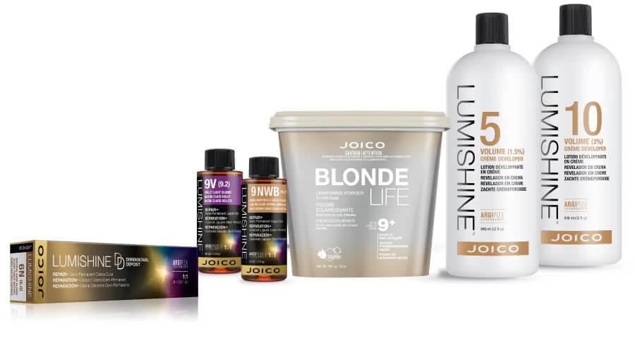 LumiShine developer bottles, Blonde Life lightener tub, and Lumishine liquid and creme color tube and bottle