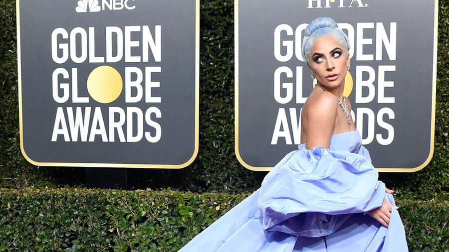 lady gaga blue hair at the golden globes