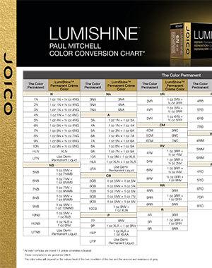 lumishine Paul Mitchel conversion chart pdf cover