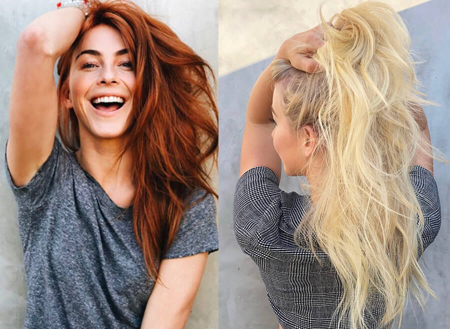 Julianne Hough before and after from red hair to blonde