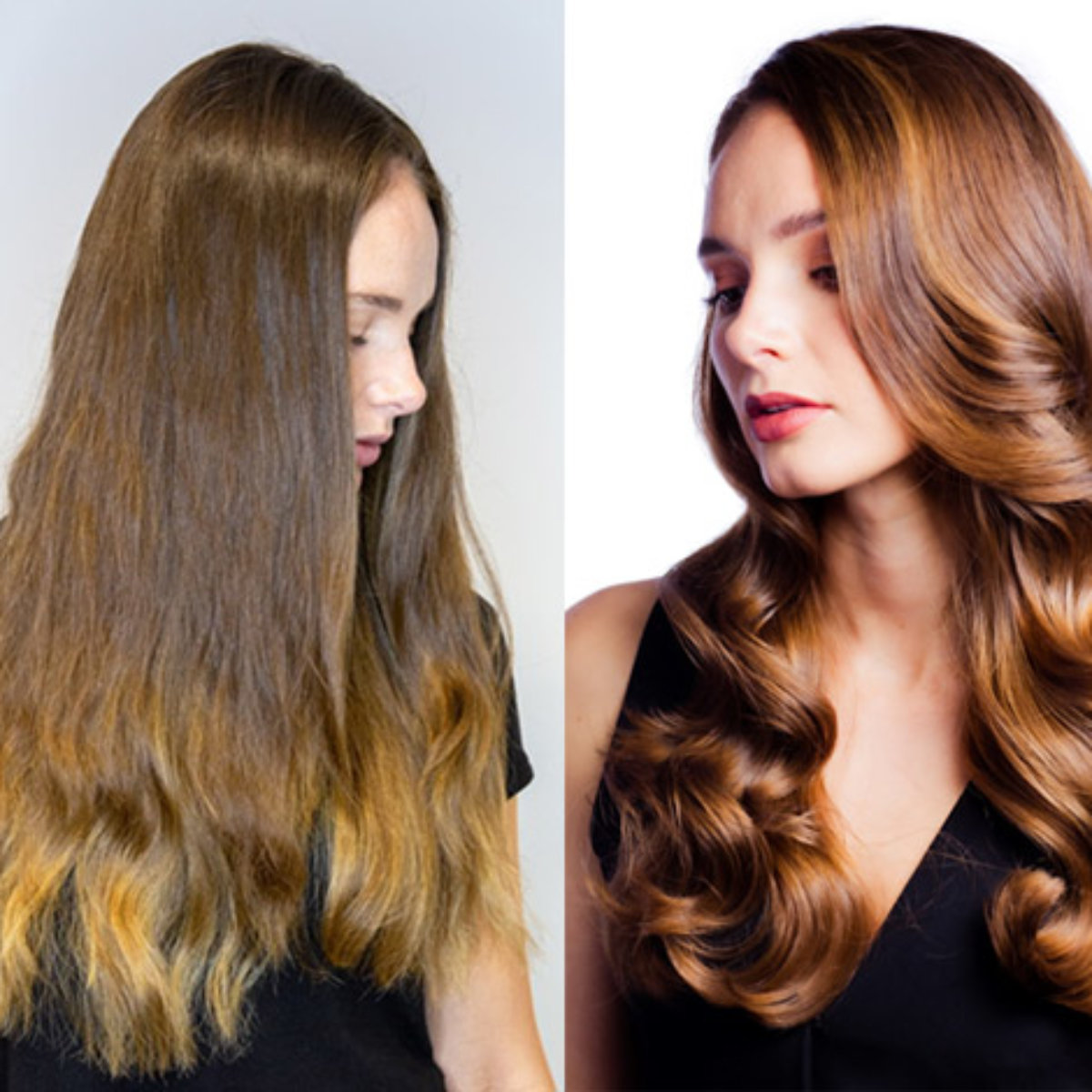 Larisa Love client before and after using Defy Damage hair care