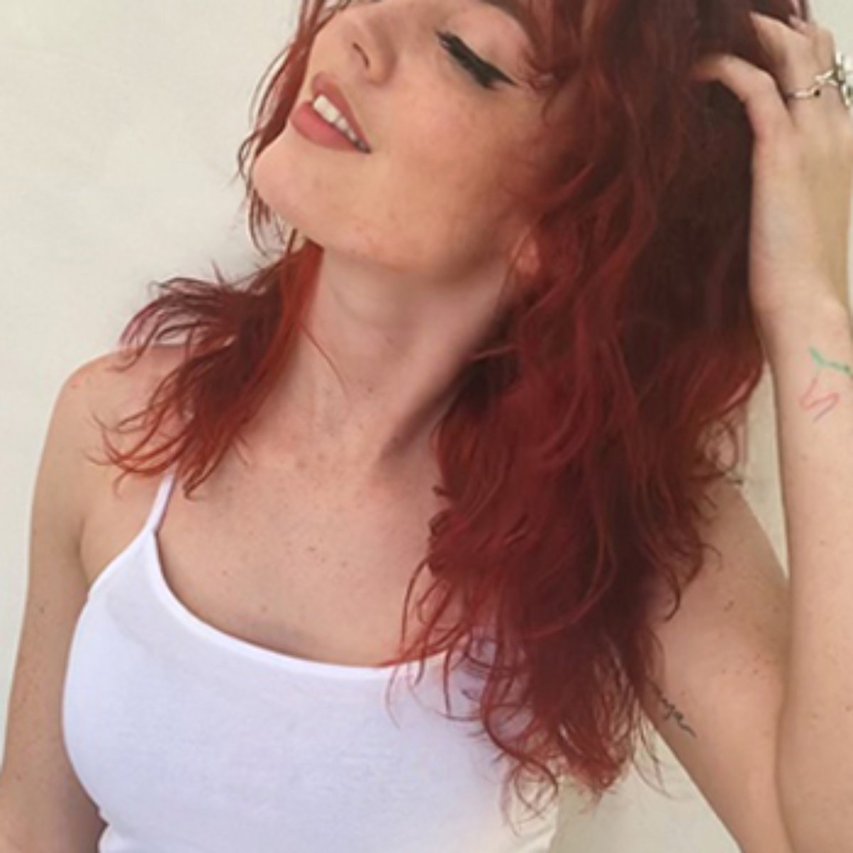 Amber Maynards client showing off beautiful red hair