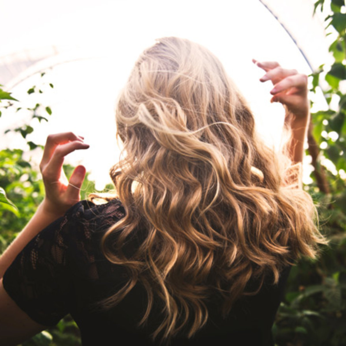 Beautiful Blonde walking in nature